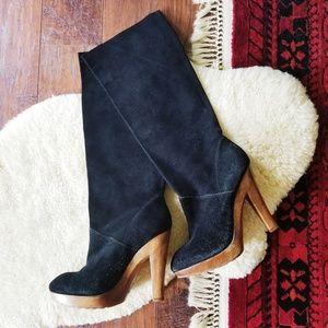 Michael Kors Suede Wooden Heel Knee High Boots